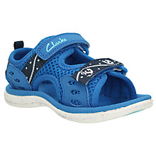 Buy Clarks Children's Piranha Rip-Tape Sandals, Blue Online at johnlewis.com