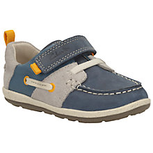 Buy Clarks Children's First Softly Boat Shoes, Navy Online at johnlewis.com