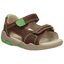Buy Clarks Children's Softly Bay Rip Tape Sandals, Brown/Green Online at johnlewis.com