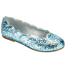 Buy John Lewis Scallop Edge Glitter Shoes, Blue Online at johnlewis.com