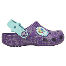 Buy Crocs Children's Classic Disney Frozen Clogs, Purple Online at johnlewis.com