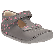Buy Clarks Children's Little Pip T-Bar Shoes, Pink/Grey Online at johnlewis.com