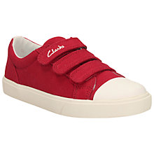Buy Clarks Children's Club Halcy Canvas Rip-Tape Shoes, Red Online at johnlewis.com