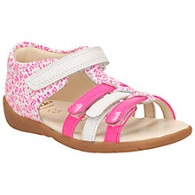 Buy Clarks Children's Kiani Glow Leather Sandals, Pink/White Online at johnlewis.com