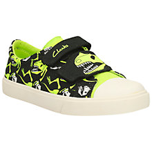 Buy Clarks Children's Tricer Roar Canvas Rip-Tape Shoes, Black/Green Online at johnlewis.com