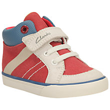 Buy Clarks Children's Juggle It First Rip-Tape Shoes, Red Online at johnlewis.com