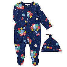 Buy John Lewis Baby Man on the Moon Balloon Print Sleepsuit, Navy Online at johnlewis.com