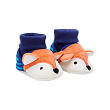 Buy Baby Joule Nipper Fox Slippers, Blue/Orange Online at johnlewis.com