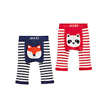 Buy Baby Joule Lively Fox and Raccoon Stripe Leggings, Pack of 2, Blue/Red Online at johnlewis.com