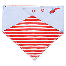 Buy Baby Joule Aeroplane Stripe Reversible Bib, Blue Online at johnlewis.com