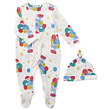Buy John Lewis Baby Man on the Moon Balloon Print Sleepsuit, White Online at johnlewis.com