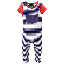 Buy Baby Joule Wilbur Stripe Dungaree and T-Shirt Set, Navy/Red Online at johnlewis.com