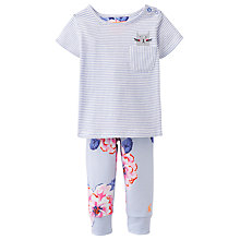 Buy Baby Joule Winn Stripe Cat T-Shirt and Floral Trouser Set, Blue/Multi Online at johnlewis.com