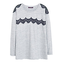 Buy Violeta by Mango Lace Panel Cotton Tee, Grey Online at johnlewis.com