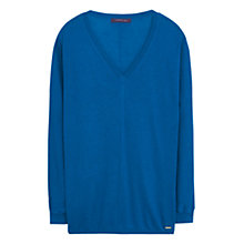 Buy Violeta by Mango Ribbed Cotton Blend Jumper, Aqua Online at johnlewis.com