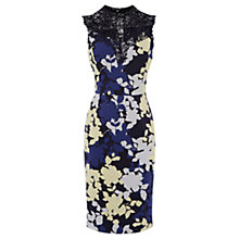 Buy Oasis Shadow Floral Lace Trim Pencil Dress, Multi Online at johnlewis.com