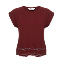 Buy Miss Selfridge Laser Cut Crepe T-Shirt, Burgundy Online at johnlewis.com