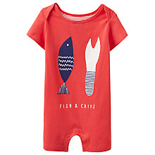 Buy Baby Joule Ned Fish & Chips Romper Playsuit, Red Online at johnlewis.com