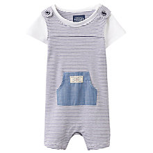 Buy Baby Joule Duncan Stripe Dungaree and T-Shirt Set, Blue/White Online at johnlewis.com