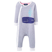 Buy Baby Joule Stripe Print Sleepsuit, Navy/White Online at johnlewis.com