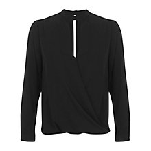 Buy Miss Selfridge High Neck Drape Blouse, Black Online at johnlewis.com