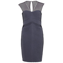 Buy Gina Bacconi Jersey Pintuck Dress With Beaded Mesh, Autumn Grey Online at johnlewis.com