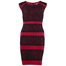 Buy Gina Bacconi Scuba And Lace Dress, Cherry Online at johnlewis.com
