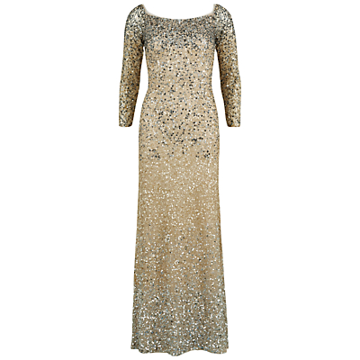 Gina Bacconi Off The Shoulder Graduated Sequin Dress, Oyster