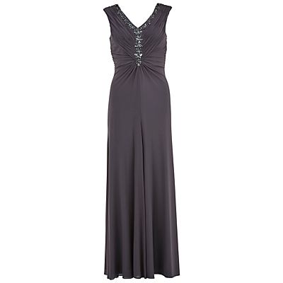 Gina Bacconi Long Mesh Dress With Beaded Neckline, Autumn Grey