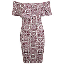 Buy Miss Selfridge Tile Bardot Dress, Burgundy Online at johnlewis.com