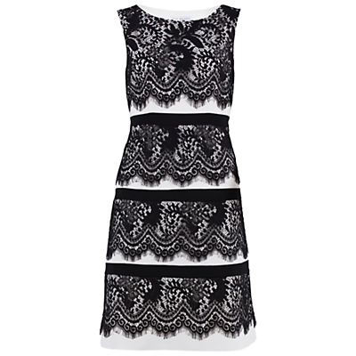 Gina Bacconi Round Neck Crepe And Lace Tiered Dress, Black
