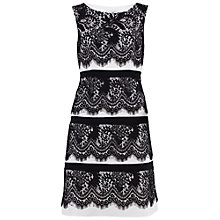 Buy Gina Bacconi Round Neck Crepe And Lace Tiered Dress, Black Online at johnlewis.com