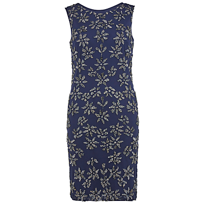 Gina Bacconi Round Neck Beaded Mesh Dress, Navy