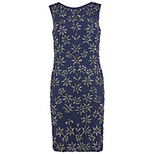 Buy Gina Bacconi Round Neck Beaded Mesh Dress, Navy Online at johnlewis.com