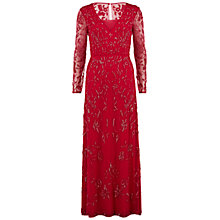 Buy Gina Bacconi Flower Beaded Mesh Neckline Maxi Dress, Pixie Pink Online at johnlewis.com
