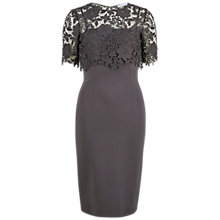 Buy Gina Bacconi Ponti Dress With Silk Guipure Lace, Pewter Online at johnlewis.com