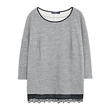 Buy Violeta by Mango Lace Trim Sweatshirt, Grey Marl Online at johnlewis.com