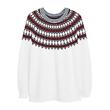Buy Violeta by Mango Tricolour Jumper, White/Dark Red Online at johnlewis.com