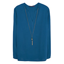 Buy Violeta by Mango Necklace Blouse, Blue Online at johnlewis.com