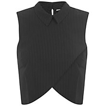 Buy Miss Selfridge PinStripe Collar Shell Top, Black Online at johnlewis.com