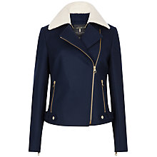 Buy Ted Baker Ayda Faux Shearling Collar Biker Jacket, Navy Online at johnlewis.com