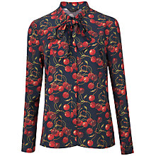 Buy Ted Baker Ciera Cheerful Cherry Pussybow Shirt, Navy Online at johnlewis.com
