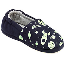 Buy John Lewis Spaceman Glow in the Dark Slippers, Black Online at johnlewis.com