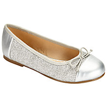 Buy John Lewis Glitter Toe Cap Party Shoes, Silver Online at johnlewis.com