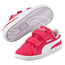 Buy Puma Children's Smash Fun CV Low Top Trainers, Pink/White Online at johnlewis.com
