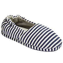 Buy John Lewis Jersey Striped Closed Back Slippers, Blue/Grey Online at johnlewis.com