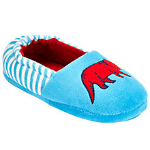 Buy John Lewis Dinosaur Applique Closed Back Slippers, Blue Online at johnlewis.com