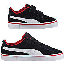 Buy Puma Children's 1948 Vulcan Trainers, Black/White Online at johnlewis.com