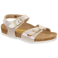 Buy Birkenstock Children's Rio Snake Print Sandals, Cream Online at johnlewis.com