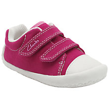 Buy Clarks Children's Kirsty Canvas Rip-Tape Shoes, Pink Online at johnlewis.com